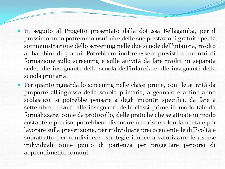 In seguito al Progetto presentato dalla dott.ssa Bellagamba, per il prossimo anno potremmo usufruire delle sue prestazioni gratuite per la somministra
