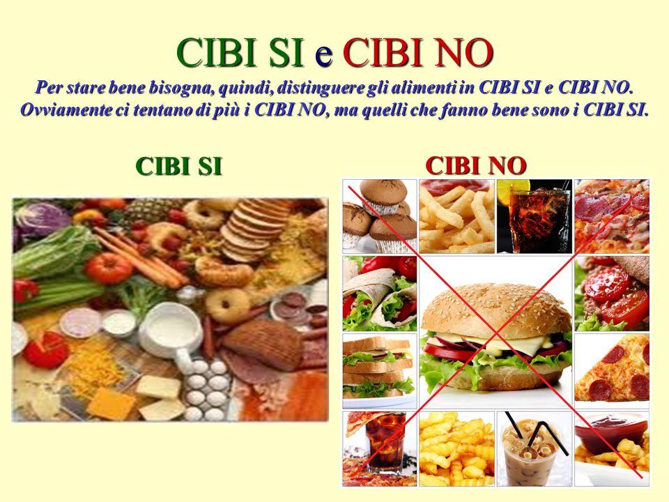 CIBI SI e CIBI NO Per stare bene bisogna, quindi, distinguere gli alimenti in CIBI SI e CIBI NO. Ovviamente ci tentano di più i CIBI NO, ma quelli che