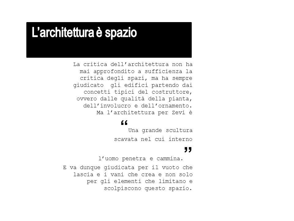 La critica dell'architettura non ha mai approfondito a sufficienza la critica degli spazi, ma ha sempre giudicato gli edifici partendo dai concetti tipici del costruttore, ovvero dalle qualità della pianta, dell'involucro e dell'ornamento.
