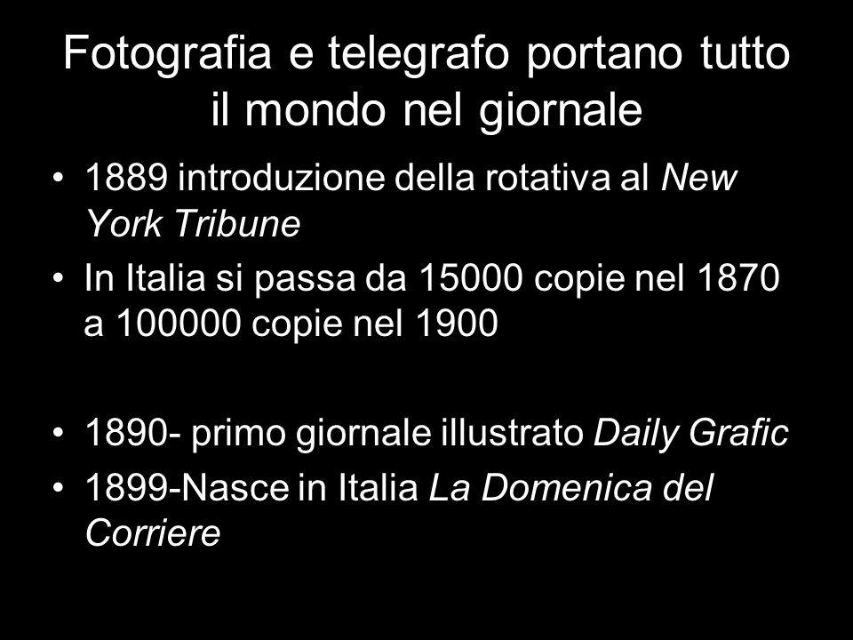 Fotografia e telegrafo portano tutto il mondo nel giornale 1889 introduzione della rotativa al New York Tribune In Italia si passa da 15000 copie nel