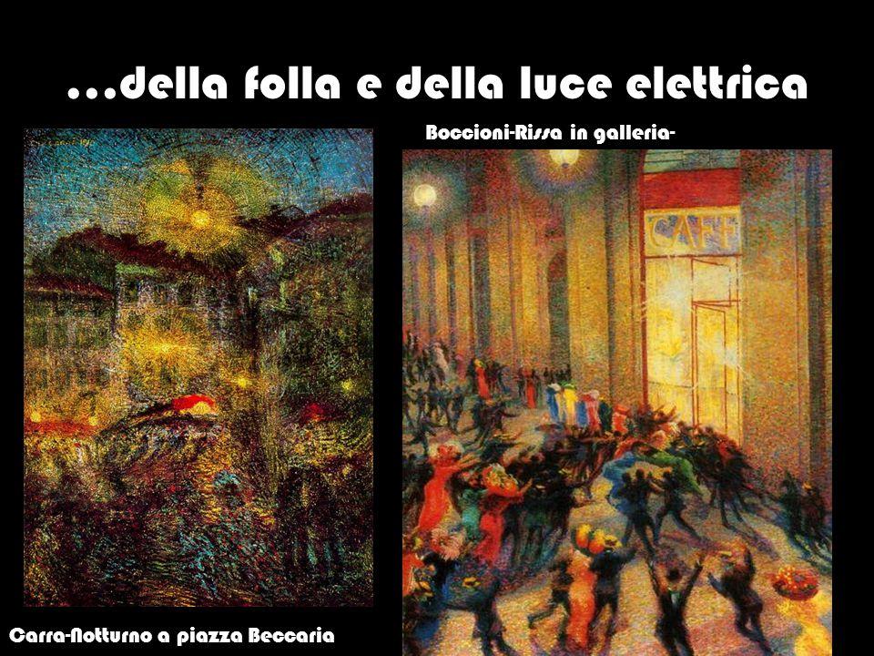 …della folla e della luce elettrica Boccioni, Carra-Notturno a piazza Beccaria Boccioni-Rissa in galleria-