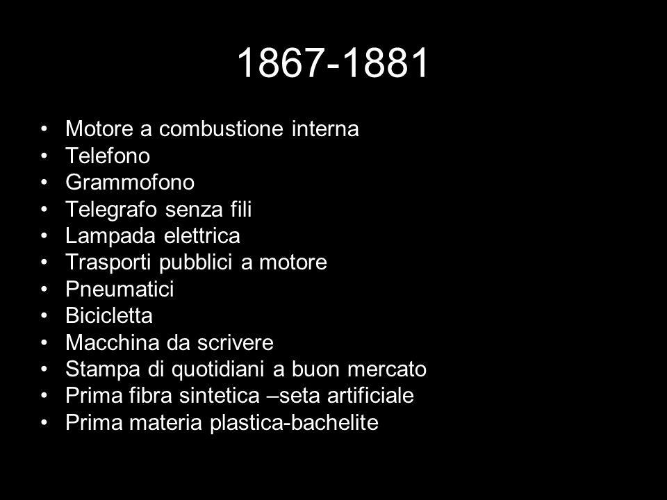 1867-1881 Motore a combustione interna Telefono Grammofono Telegrafo senza fili Lampada elettrica Trasporti pubblici a motore Pneumatici Bicicletta Ma