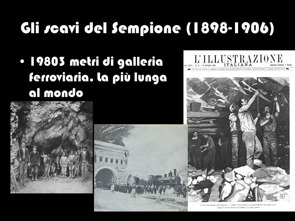 Gli scavi del Sempione (1898-1906) 19803 metri di galleria ferroviaria. La più lunga al mondo
