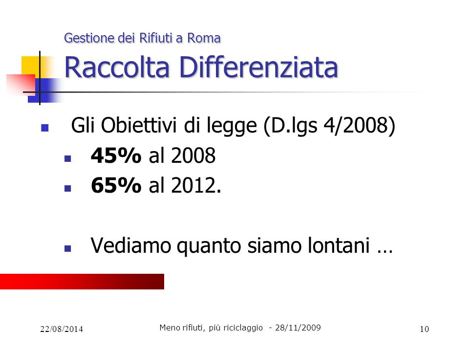22/08/201410 Gestione dei Rifiuti a Roma Raccolta Differenziata Gli Obiettivi di legge (D.lgs 4/2008) 45% al 2008 65% al 2012. Vediamo quanto siamo lo
