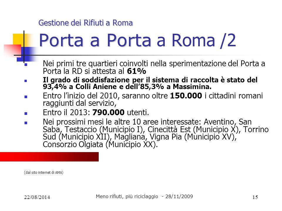 22/08/201415 Gestione dei Rifiuti a Roma Porta a Porta Gestione dei Rifiuti a Roma Porta a Porta a Roma /2 Nei primi tre quartieri coinvolti nella spe
