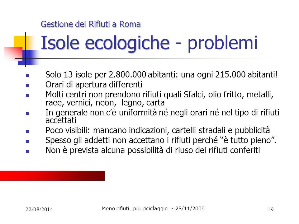 22/08/201419 Gestione dei Rifiuti a Roma Isole ecologiche Gestione dei Rifiuti a Roma Isole ecologiche - problemi Solo 13 isole per 2.800.000 abitanti
