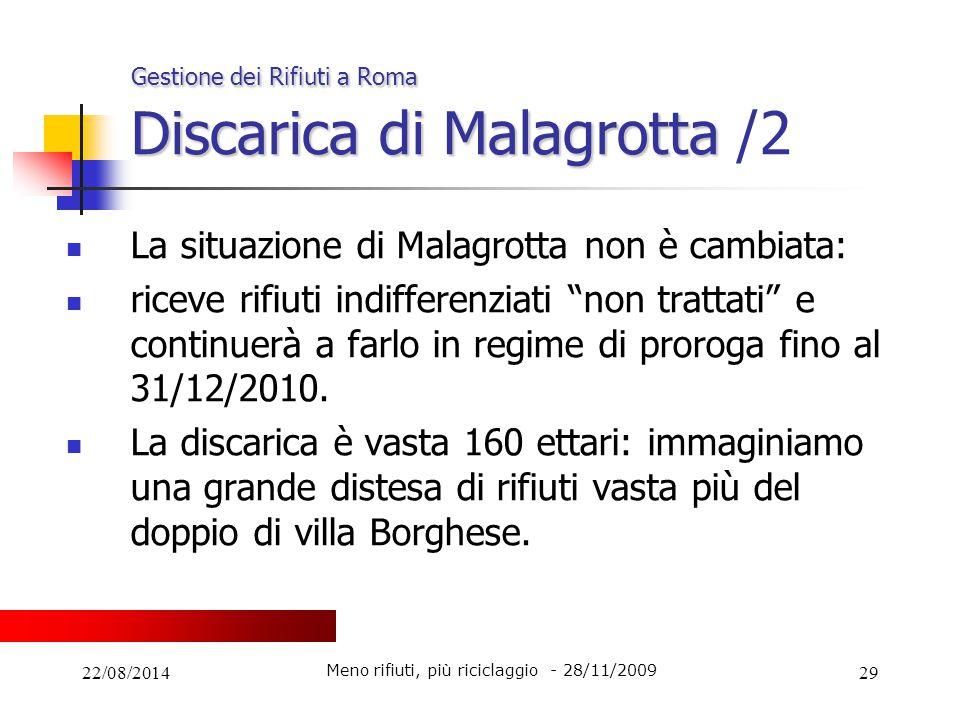22/08/201429 Gestione dei Rifiuti a Roma Discarica di Malagrotta Gestione dei Rifiuti a Roma Discarica di Malagrotta /2 La situazione di Malagrotta no