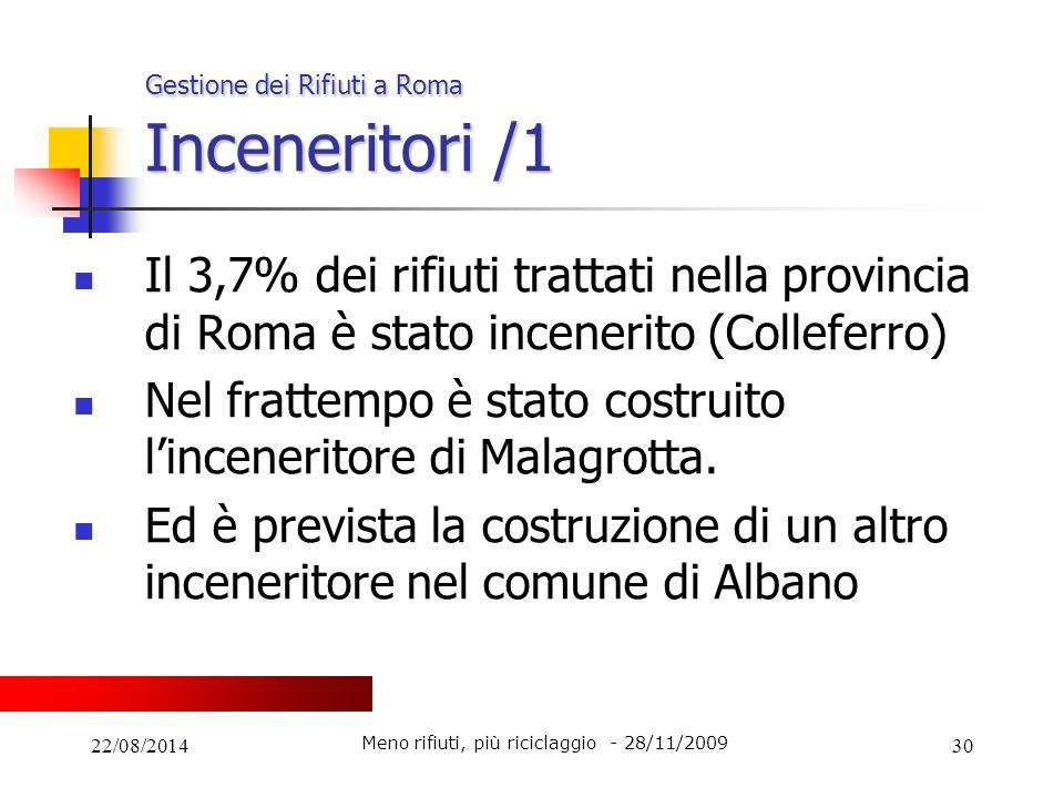 22/08/201430 Gestione dei Rifiuti a Roma Inceneritori /1 Il 3,7% dei rifiuti trattati nella provincia di Roma è stato incenerito (Colleferro) Nel frat