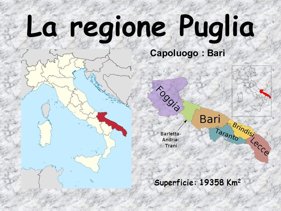 La regione Puglia Capoluogo : Bari Superficie: 19358 Km 2