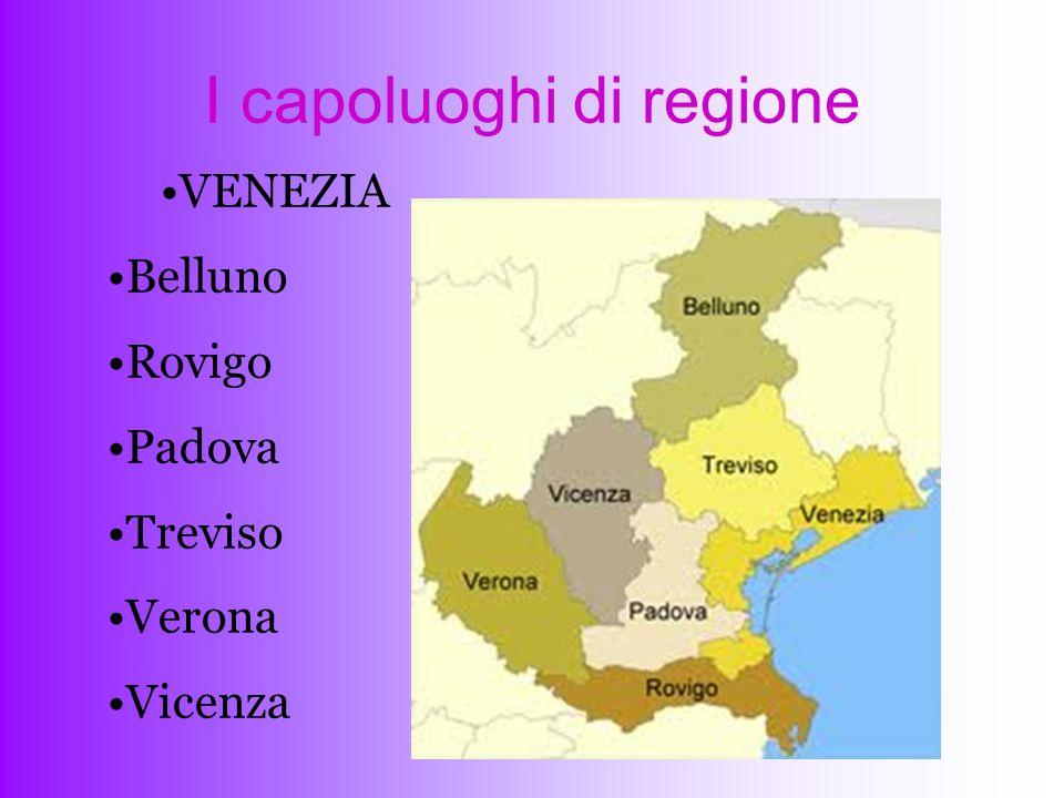 I capoluoghi di regione VENEZIA Belluno Rovigo Padova Treviso Verona Vicenza