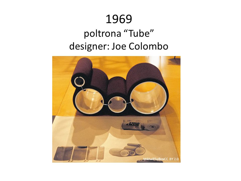 "1969 poltrona ""Tube"" designer: Joe Colombo MikhailFludkovCC BY 2.0"