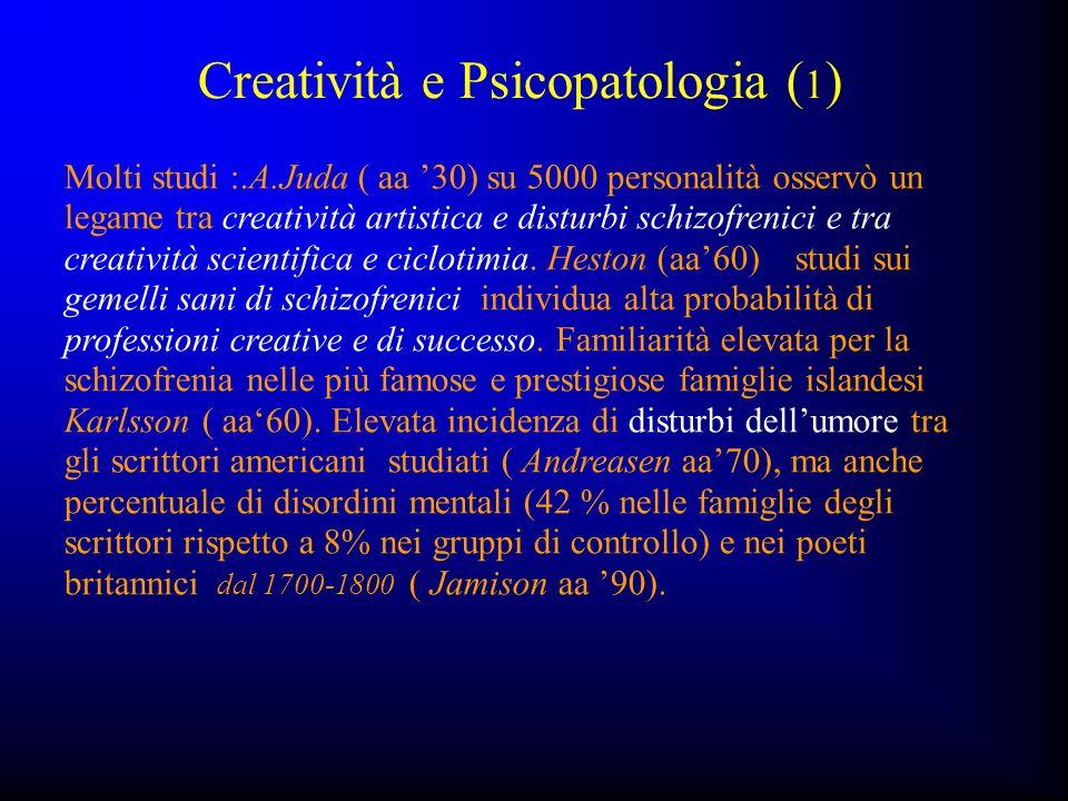 Creatività e Psicopatologia ( 1 ) Molti studi :.A.Juda ( aa '30) su 5000 personalità osservò un legame tra creatività artistica e disturbi schizofreni