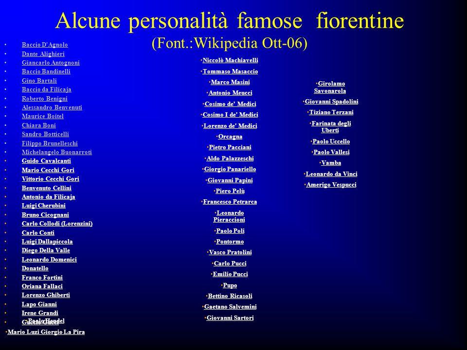 Alcune personalità famose fiorentine (Font.:Wikipedia Ott-06) Baccio D'Agnolo Dante Alighieri Giancarlo Antognoni Baccio Bandinelli Gino Bartali Bacci