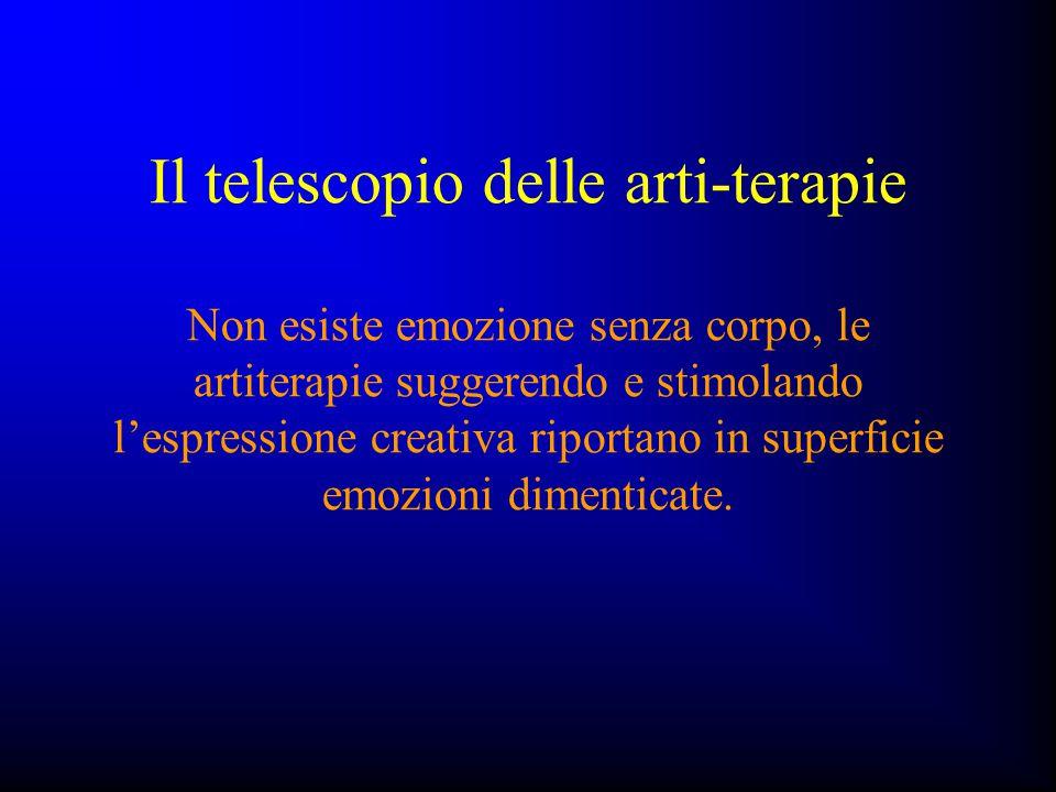 Il telescopio delle arti-terapie Non esiste emozione senza corpo, le artiterapie suggerendo e stimolando l'espressione creativa riportano in superfici