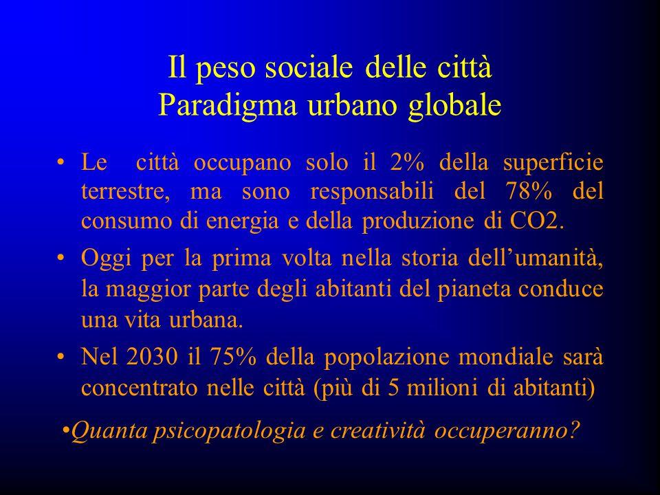 Il peso sociale delle città Paradigma urbano globale Le città occupano solo il 2% della superficie terrestre, ma sono responsabili del 78% del consumo
