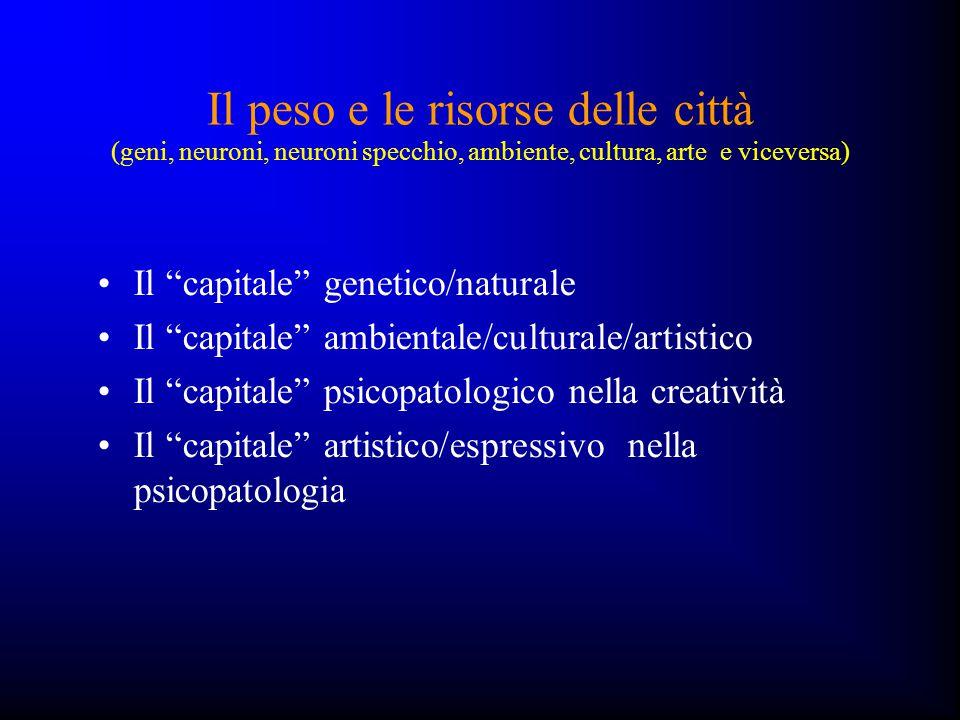 """Il peso e le risorse delle città (geni, neuroni, neuroni specchio, ambiente, cultura, arte e viceversa) Il """"capitale"""" genetico/naturale Il """"capitale"""""""