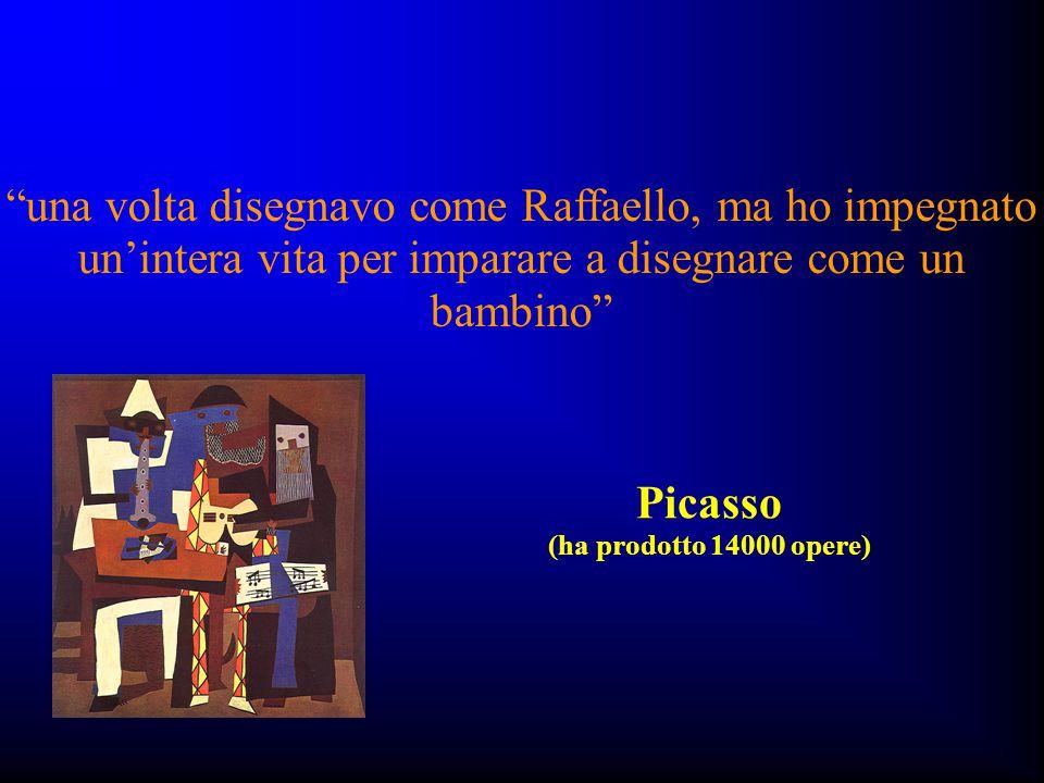 """""""una volta disegnavo come Raffaello, ma ho impegnato un'intera vita per imparare a disegnare come un bambino"""" Picasso (ha prodotto 14000 opere)"""