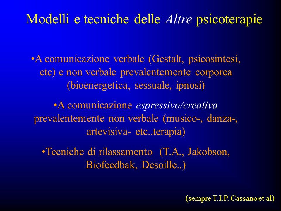 A comunicazione verbale (Gestalt, psicosintesi, etc) e non verbale prevalentemente corporea (bioenergetica, sessuale, ipnosi) A comunicazione espressi