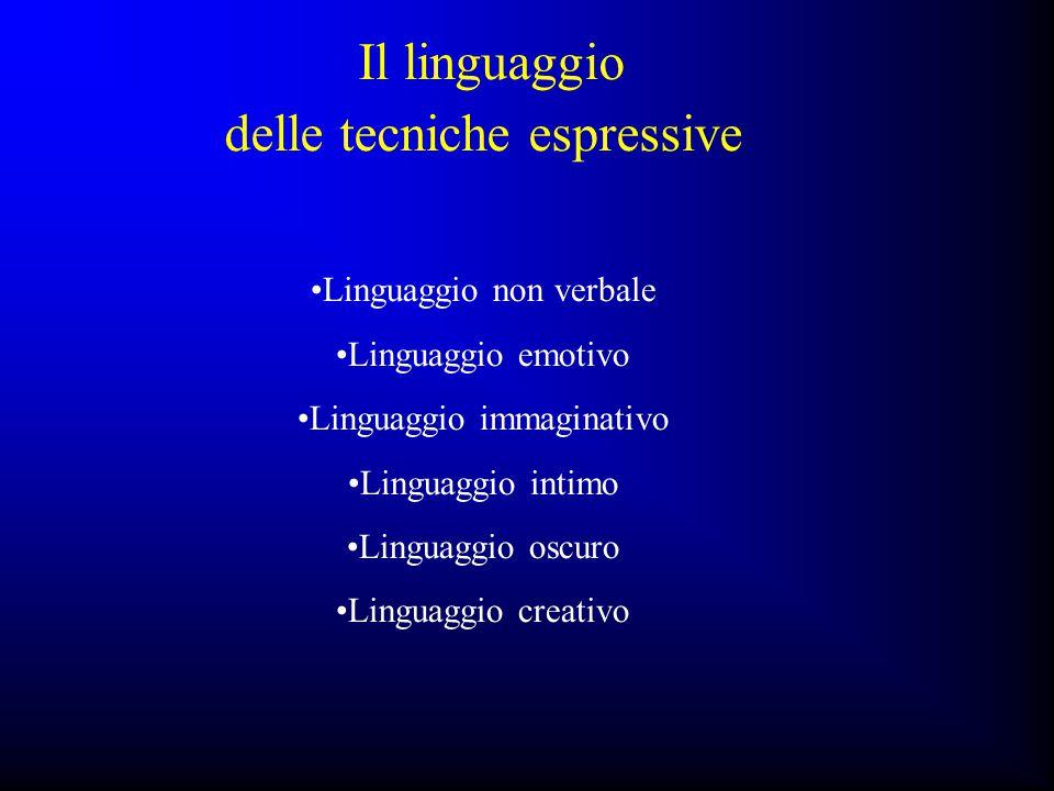Linguaggio non verbale Linguaggio emotivo Linguaggio immaginativo Linguaggio intimo Linguaggio oscuro Linguaggio creativo Il linguaggio delle tecniche