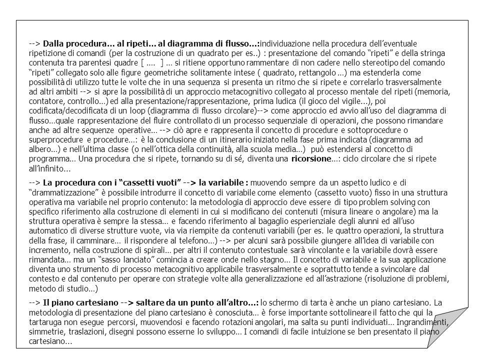 --> Dalla procedura… al ripeti… al diagramma di flusso…:individuazione nella procedura dell'eventuale ripetizione di comandi (per la costruzione di un