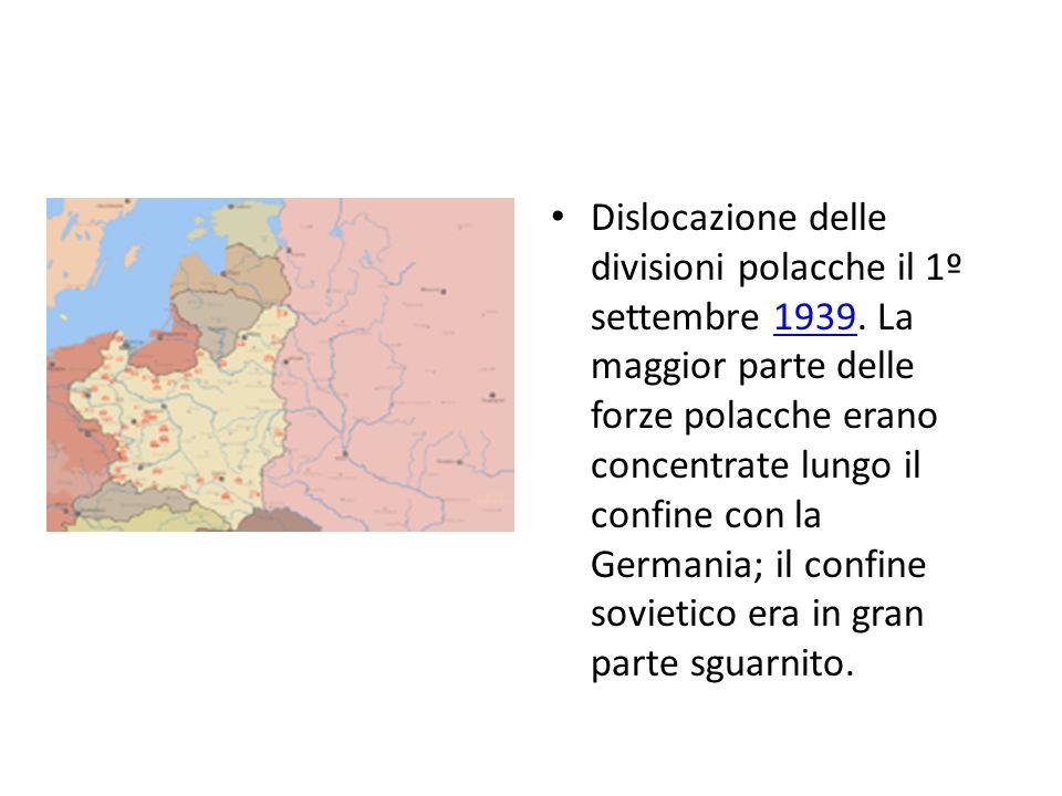 Dislocazione delle divisioni polacche il 1º settembre 1939. La maggior parte delle forze polacche erano concentrate lungo il confine con la Germania;