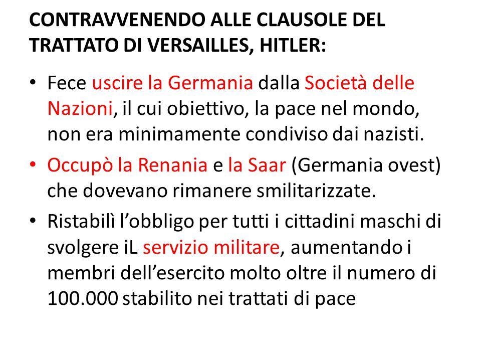 CONTRAVVENENDO ALLE CLAUSOLE DEL TRATTATO DI VERSAILLES, HITLER: Fece uscire la Germania dalla Società delle Nazioni, il cui obiettivo, la pace nel mo