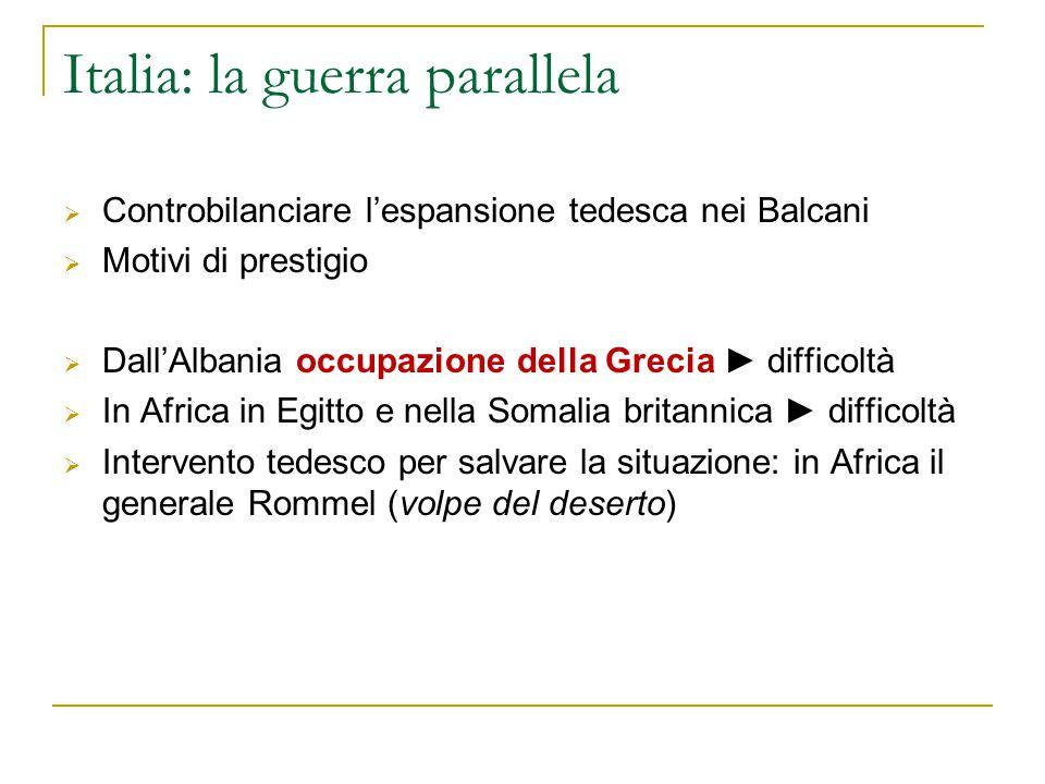 Italia: la guerra parallela  Controbilanciare l'espansione tedesca nei Balcani  Motivi di prestigio  Dall'Albania occupazione della Grecia ► diffic