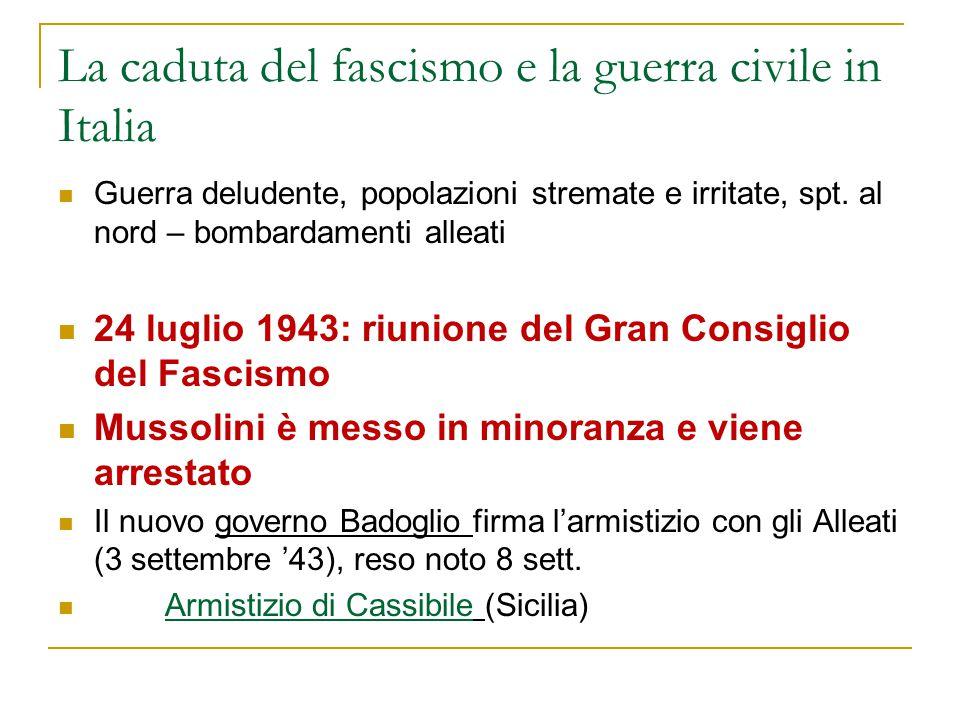 La caduta del fascismo e la guerra civile in Italia Guerra deludente, popolazioni stremate e irritate, spt. al nord – bombardamenti alleati 24 luglio