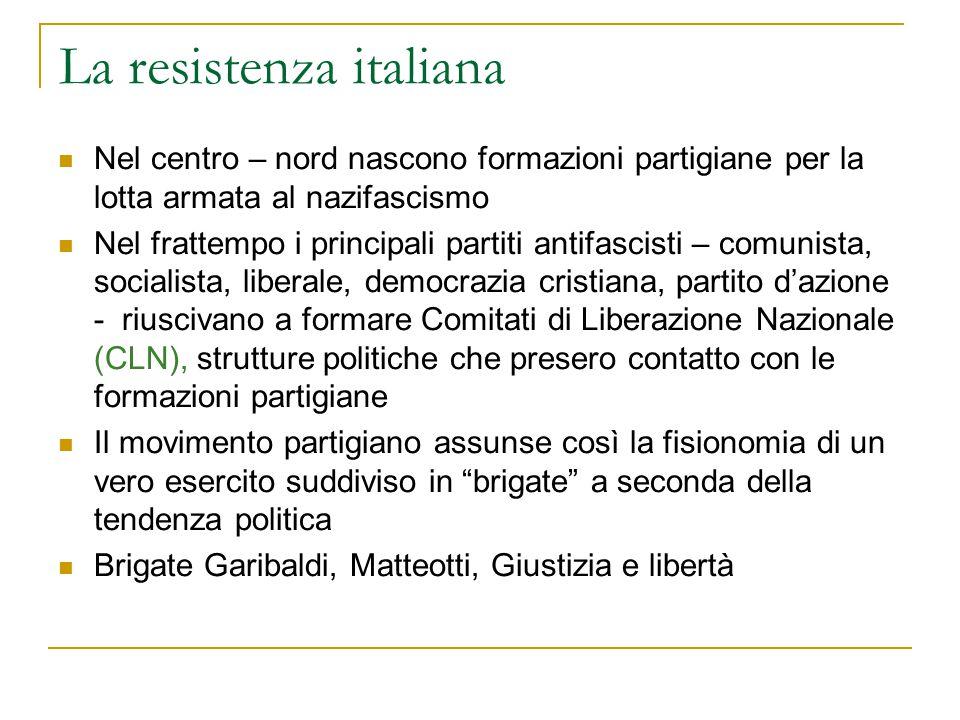 La resistenza italiana Nel centro – nord nascono formazioni partigiane per la lotta armata al nazifascismo Nel frattempo i principali partiti antifasc