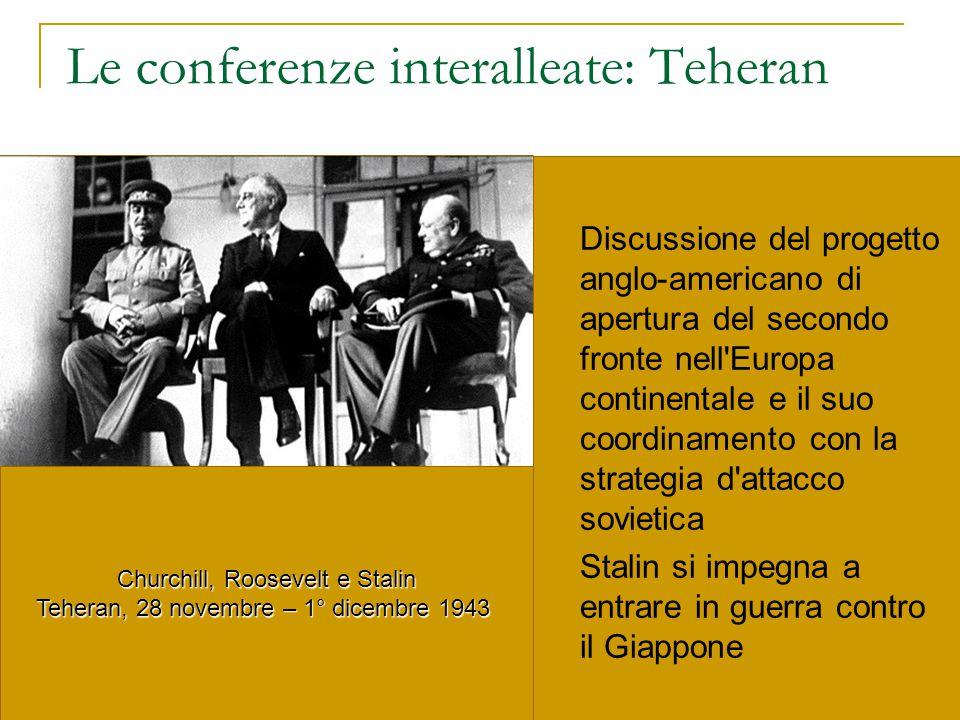 Le conferenze interalleate: Teheran Discussione del progetto anglo-americano di apertura del secondo fronte nell'Europa continentale e il suo coordina