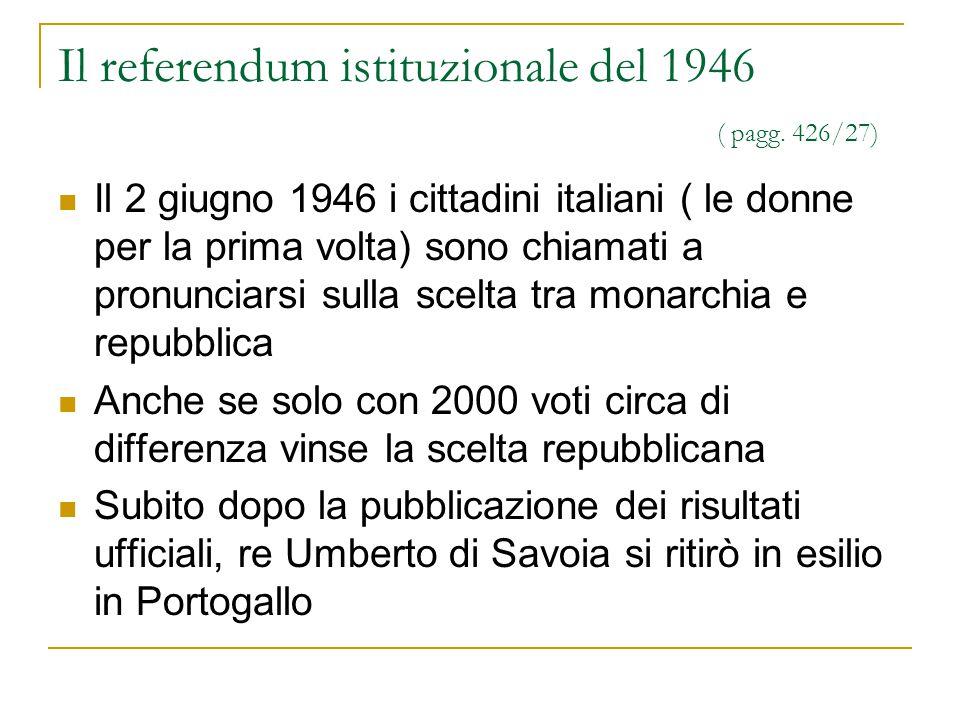 Il referendum istituzionale del 1946 ( pagg. 426/27) Il 2 giugno 1946 i cittadini italiani ( le donne per la prima volta) sono chiamati a pronunciarsi