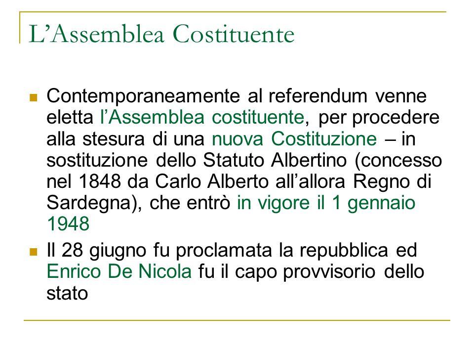 L'Assemblea Costituente Contemporaneamente al referendum venne eletta l'Assemblea costituente, per procedere alla stesura di una nuova Costituzione –