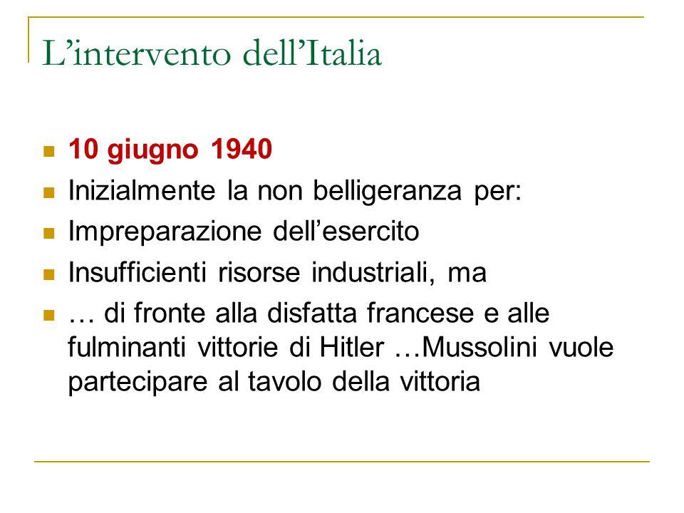 L'intervento dell'Italia 10 giugno 1940 Inizialmente la non belligeranza per: Impreparazione dell'esercito Insufficienti risorse industriali, ma … di