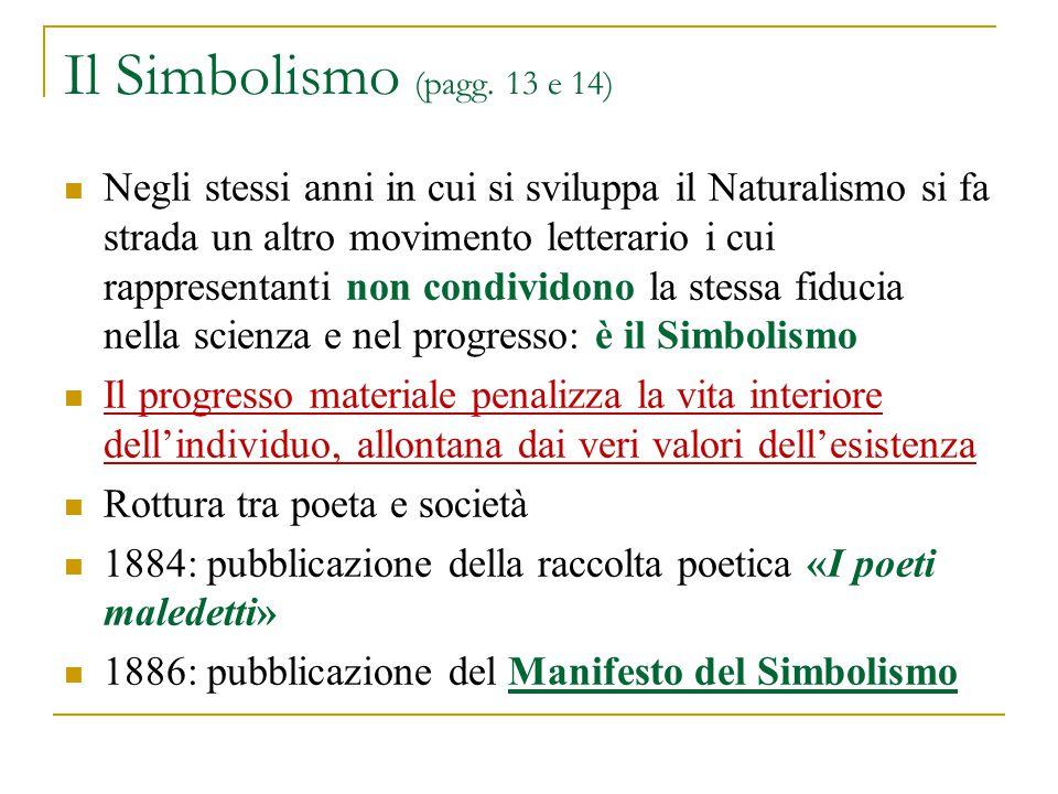 Il Simbolismo (pagg. 13 e 14) Negli stessi anni in cui si sviluppa il Naturalismo si fa strada un altro movimento letterario i cui rappresentanti non