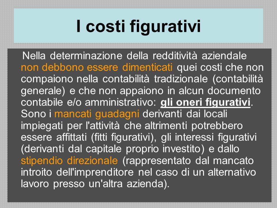 I costi figurativi Nella determinazione della redditività aziendale non debbono essere dimenticati quei costi che non compaiono nella contabilità trad