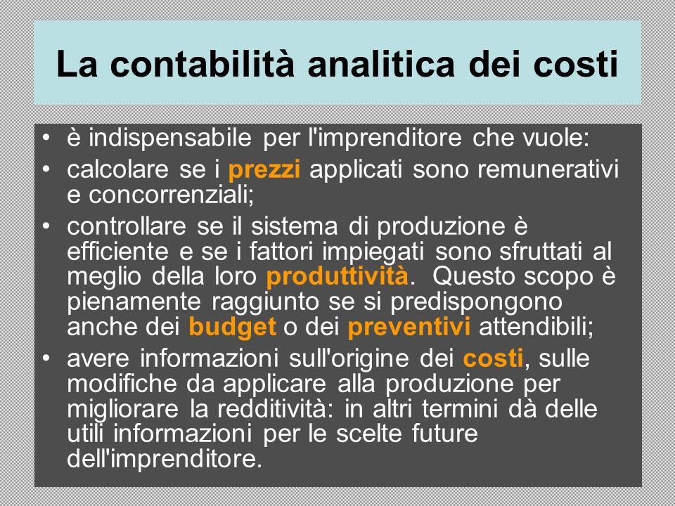 La contabilità analitica dei costi è indispensabile per l'imprenditore che vuole: calcolare se i prezzi applicati sono remunerativi e concorrenziali;