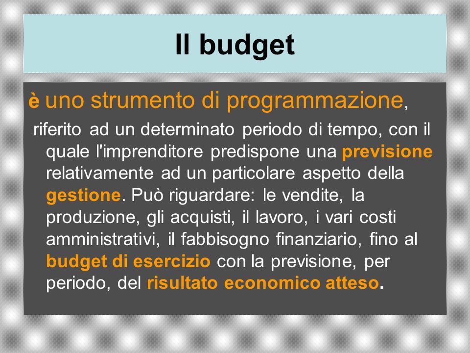 Il budget è uno strumento di programmazione, riferito ad un determinato periodo di tempo, con il quale l imprenditore predispone una previsione relativamente ad un particolare aspetto della gestione.
