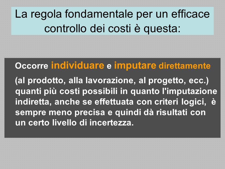 La regola fondamentale per un efficace controllo dei costi è questa: Occorre individuare e imputare direttamente (al prodotto, alla lavorazione, al pr