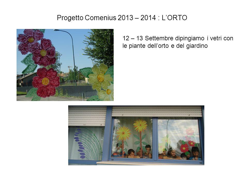 Progetto Comenius 2013 – 2014 : L'ORTO 12 – 13 Settembre dipingiamo i vetri con le piante dell'orto e del giardino