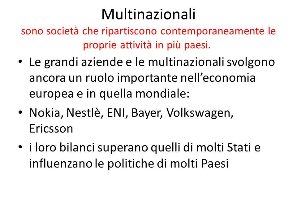 Multinazionali sono società che ripartiscono contemporaneamente le proprie attività in più paesi. Le grandi aziende e le multinazionali svolgono ancor
