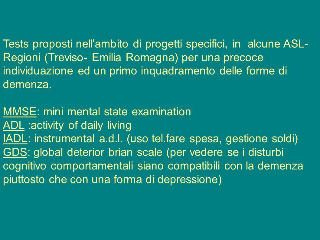 Tests proposti nell'ambito di progetti specifici, in alcune ASL- Regioni (Treviso- Emilia Romagna) per una precoce individuazione ed un primo inquadra