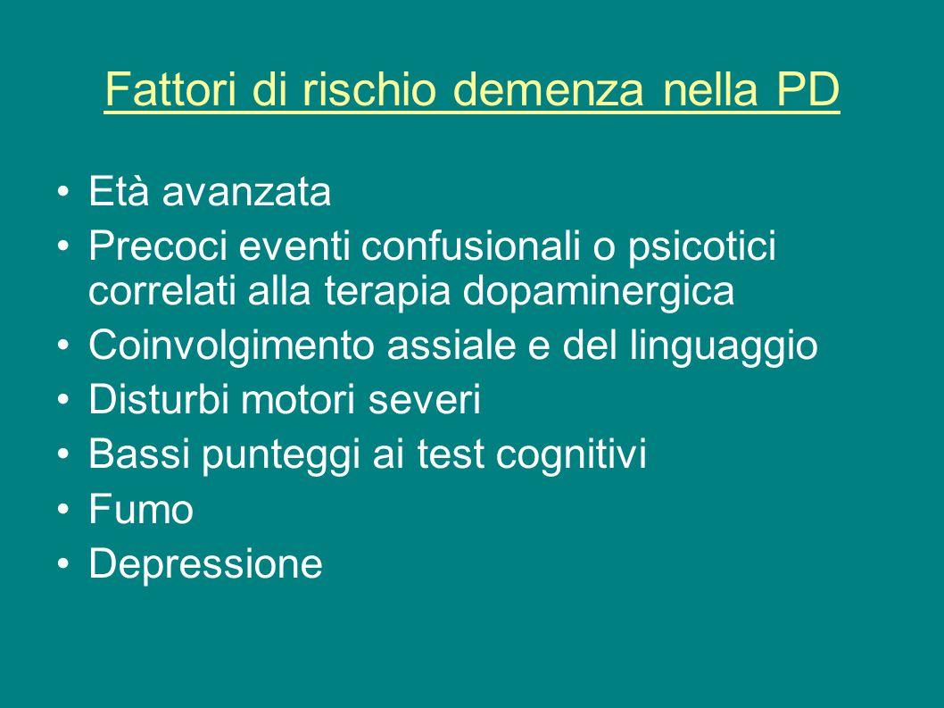 Fattori di rischio demenza nella PD Età avanzata Precoci eventi confusionali o psicotici correlati alla terapia dopaminergica Coinvolgimento assiale e