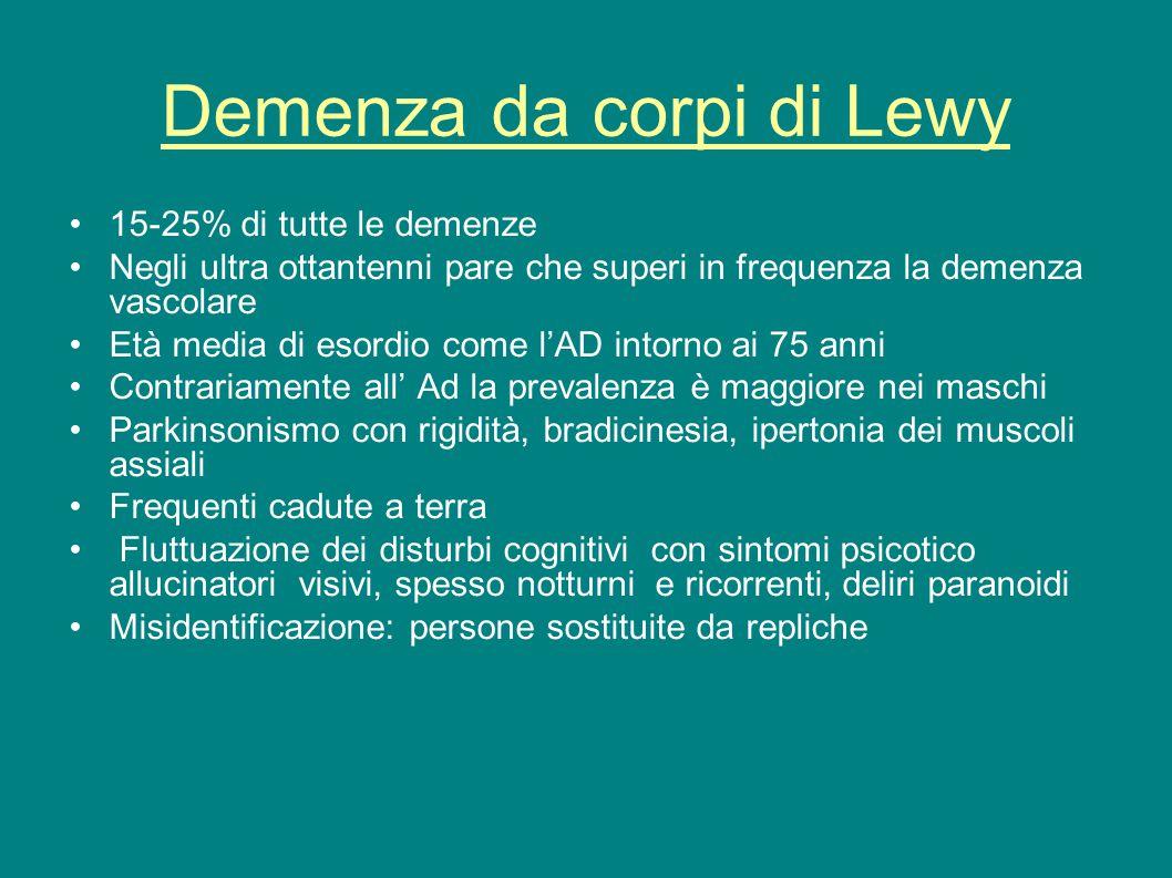 Demenza da corpi di Lewy 15-25% di tutte le demenze Negli ultra ottantenni pare che superi in frequenza la demenza vascolare Età media di esordio come