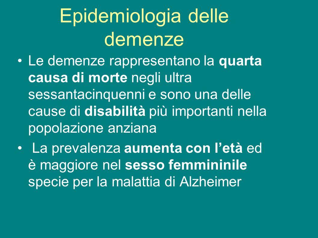 Epidemiologia delle demenze Le demenze rappresentano la quarta causa di morte negli ultra sessantacinquenni e sono una delle cause di disabilità più i