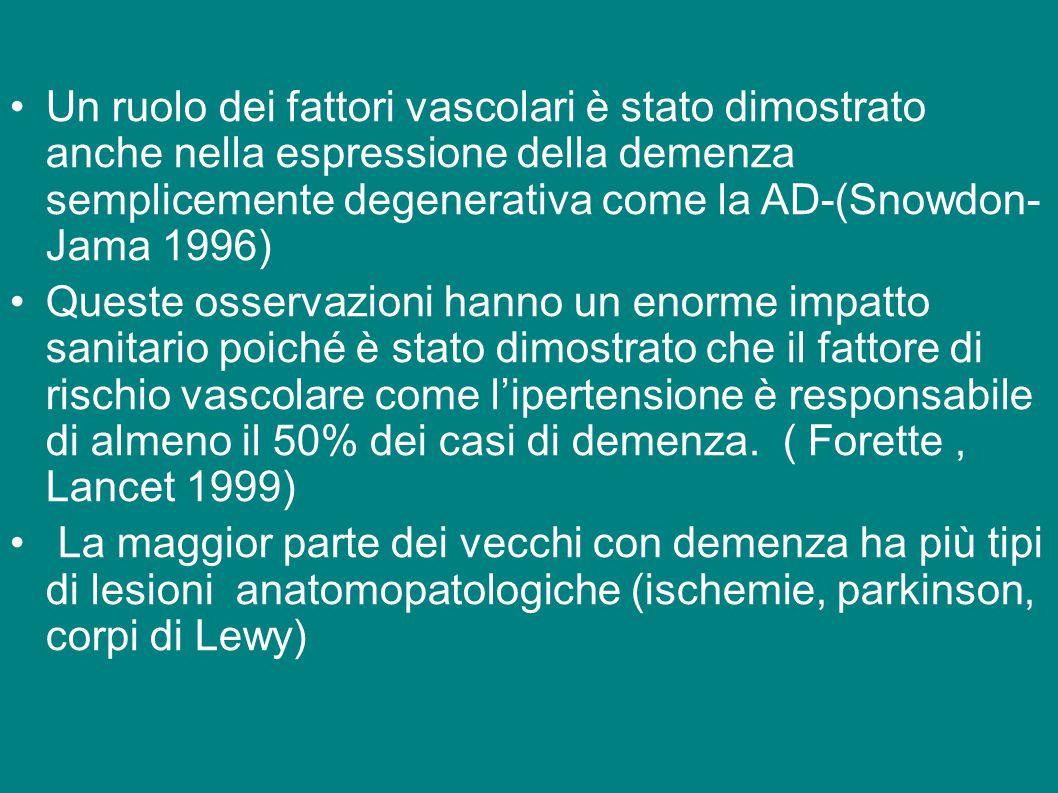 Un ruolo dei fattori vascolari è stato dimostrato anche nella espressione della demenza semplicemente degenerativa come la AD-(Snowdon- Jama 1996) Que