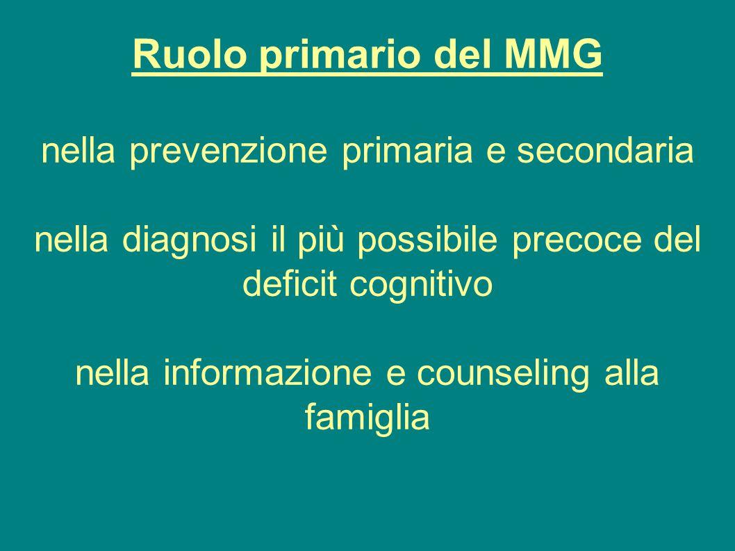 Ruolo primario del MMG nella prevenzione primaria e secondaria nella diagnosi il più possibile precoce del deficit cognitivo nella informazione e coun