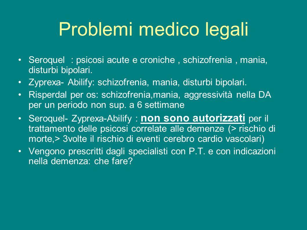 Problemi medico legali Seroquel : psicosi acute e croniche, schizofrenia, mania, disturbi bipolari. Zyprexa- Abilify: schizofrenia, mania, disturbi bi