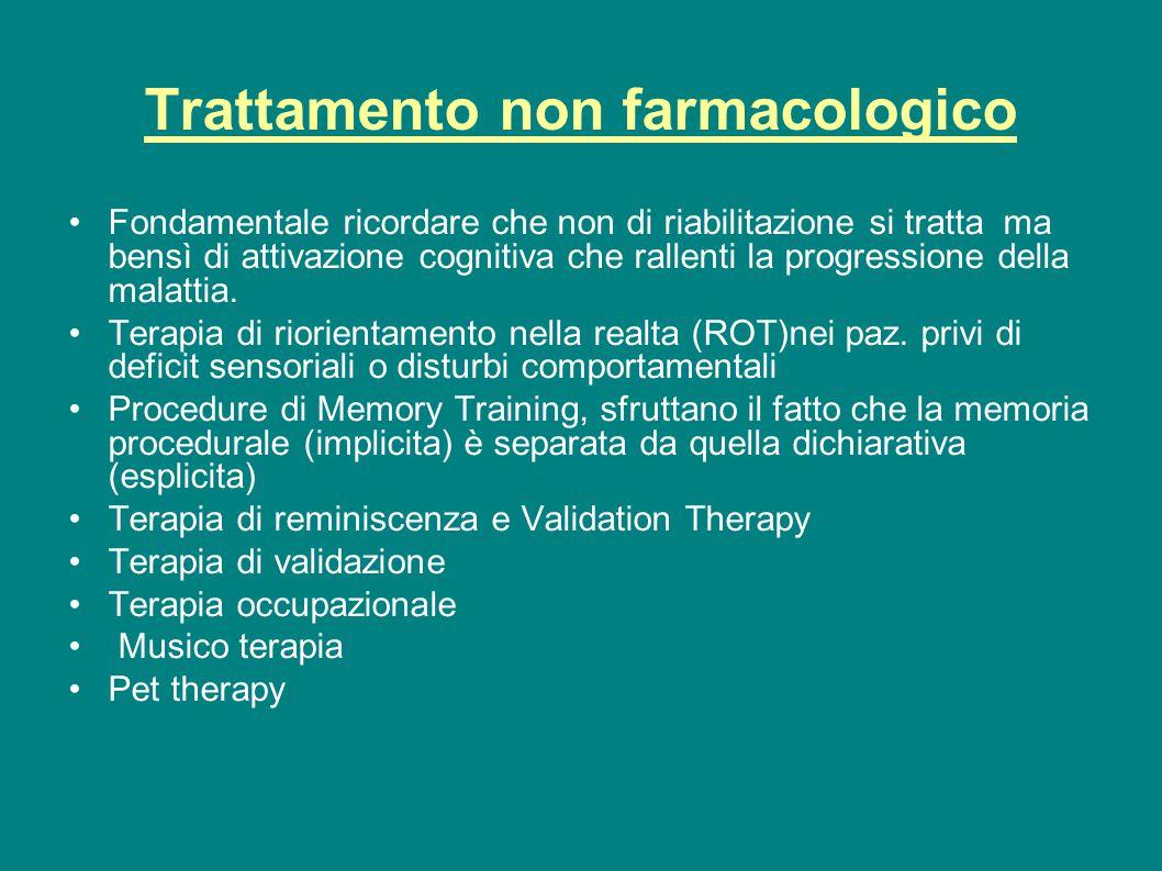 Trattamento non farmacologico Fondamentale ricordare che non di riabilitazione si tratta ma bensì di attivazione cognitiva che rallenti la progression