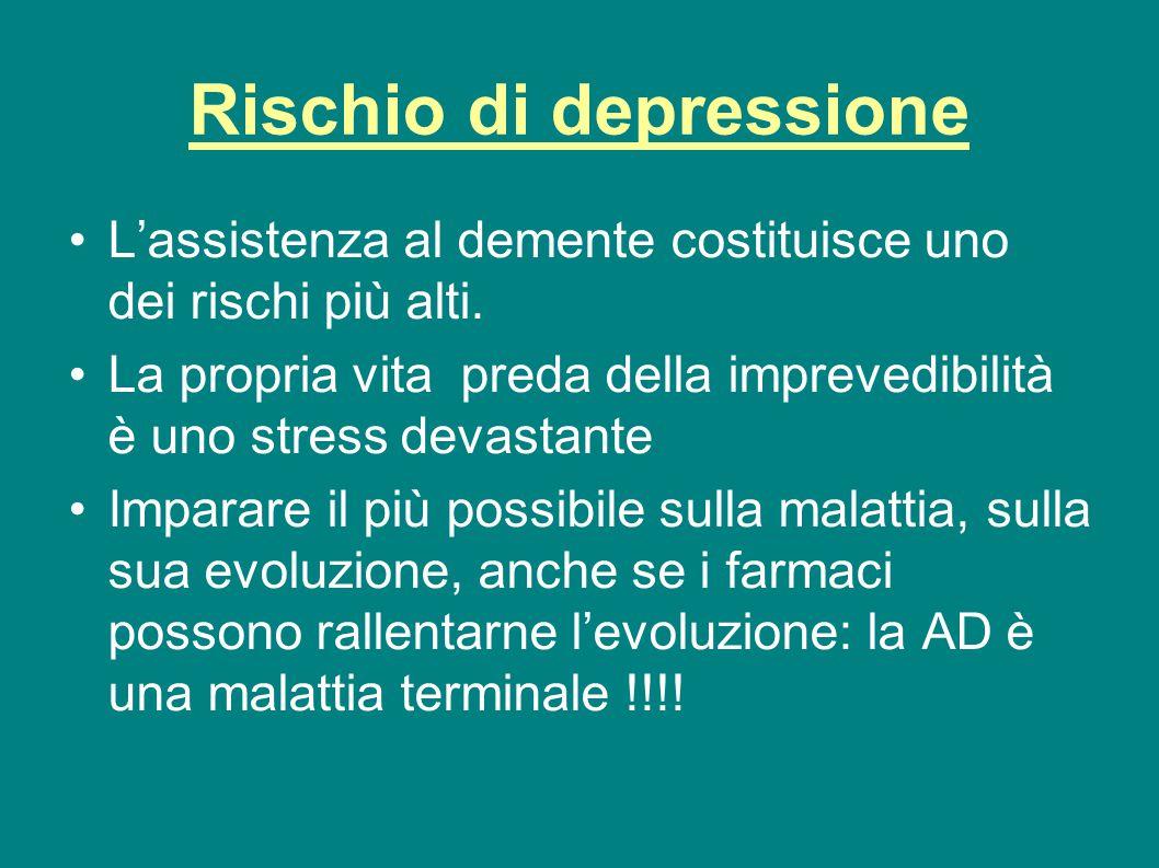 Rischio di depressione L'assistenza al demente costituisce uno dei rischi più alti. La propria vita preda della imprevedibilità è uno stress devastant