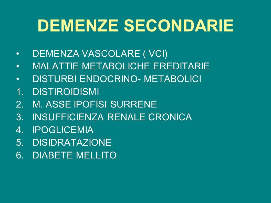 DEMENZE SECONDARIE DEMENZA VASCOLARE ( VCI) MALATTIE METABOLICHE EREDITARIE DISTURBI ENDOCRINO- METABOLICI 1.DISTIROIDISMI 2.M. ASSE IPOFISI SURRENE 3